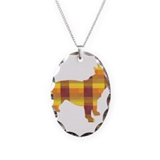 plaid french bulldog Necklace Oval Charm