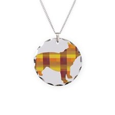 plaid french bulldog Necklace Circle Charm