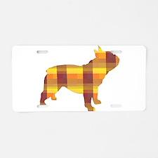 plaid french bulldog Aluminum License Plate
