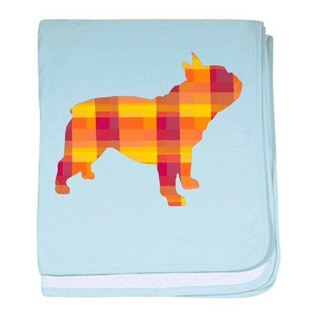 plaid french bulldog baby blanket
