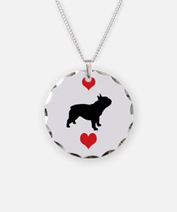French Bulldog Red Hearts Necklace