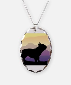 Frenchie Purple Mt. Necklace Oval Charm