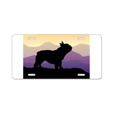 Frenchie Purple Mt. Aluminum License Plate