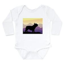 Frenchie Purple Mt. Long Sleeve Infant Bodysuit