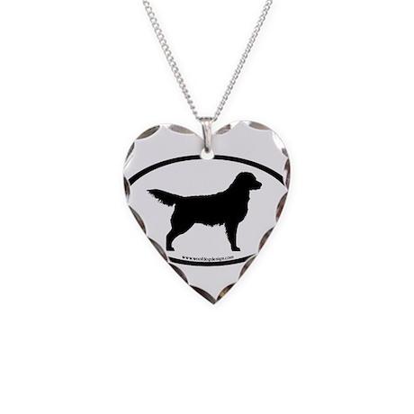 Golden Retriever Oval Necklace Heart Charm