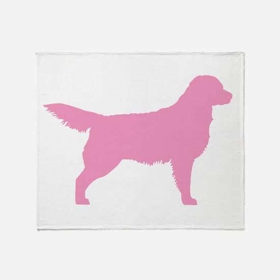 Pink Golden Retriever Throw Blanket