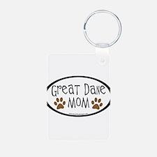 Great Dane Mom Oval Keychains