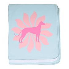 Pink Flower Greyhound baby blanket