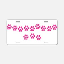 Pink Paws Greyhound Mom Aluminum License Plate