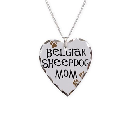 Belgian Sheepdog Mom Necklace Heart Charm