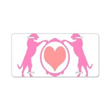 Pink Tall Wolfhounds & Heart Aluminum License