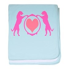 Pink Tall Wolfhounds & Heart baby blanket