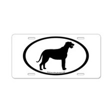 Irish Wolfhound Oval Aluminum License Plate