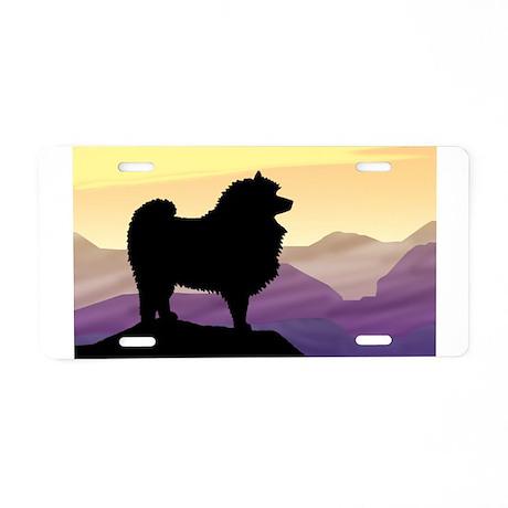 Keeshond Purple Mountain Aluminum License Plate