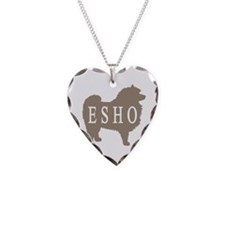 Keeshond Dog & Text Necklace