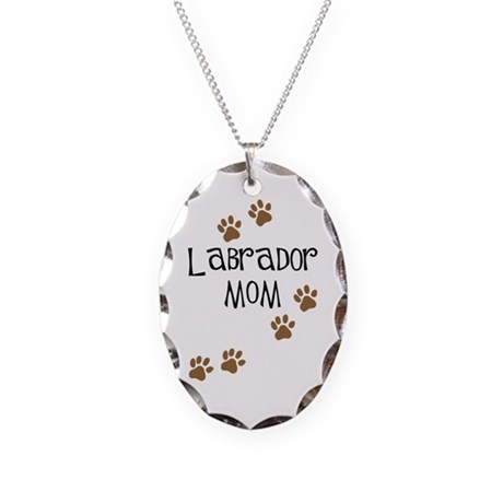 Labrador Mom Necklace Oval Charm