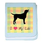 plaid love my lab baby blanket