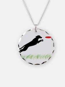 Labrador Dog Red Disc Necklace