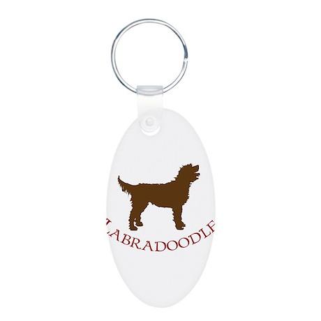Labradoodle Dog Aluminum Oval Keychain