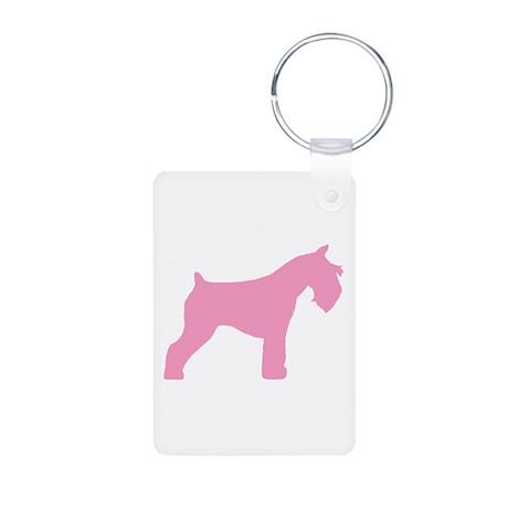 Pink Mini Schnauzer Aluminum Photo Keychain