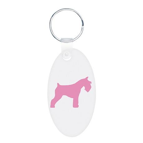 Pink Mini Schnauzer Aluminum Oval Keychain