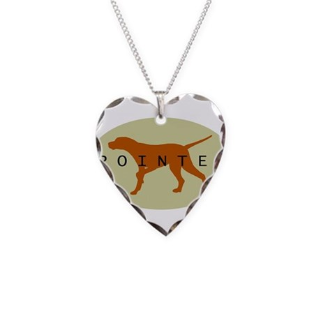 Pointer Dog (Sage) Necklace Heart Charm