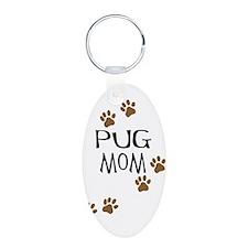 Pug Mom Aluminum Oval Keychain