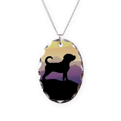 Purple Mountains Puggle Necklace Oval Charm