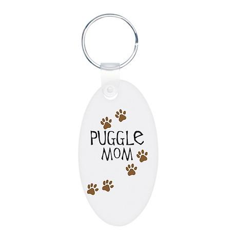 Puggle Mom Aluminum Oval Keychain
