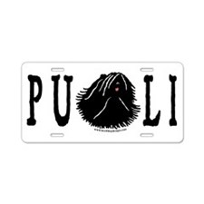 Dread Text Puli Dog Aluminum License Plate