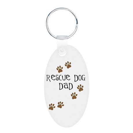 Rescue Dog Dad Aluminum Oval Keychain