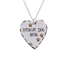 Rescue Dog Mom Necklace Heart Charm