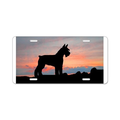Schnauzer Sunset Aluminum License Plate