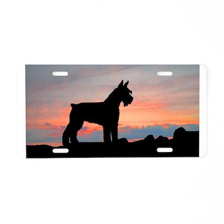 Schnauzer Sunset Aluminum License Plate