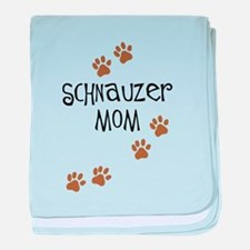 Paw Prints Schnauzer Mom baby blanket