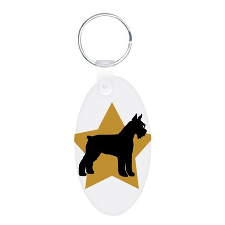 Gold Star Schnauzer Aluminum Oval Keychain