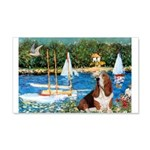 Sailboats & Basset 20x12 Wall Decal
