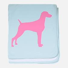 Pink Weimaraner baby blanket