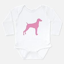 Pink Weimaraner Long Sleeve Infant Bodysuit