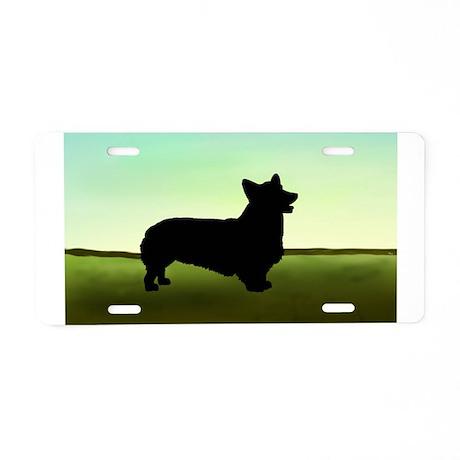corgi in a field Aluminum License Plate