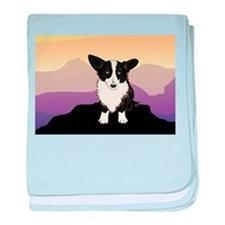 Purple Mountain Corgi baby blanket
