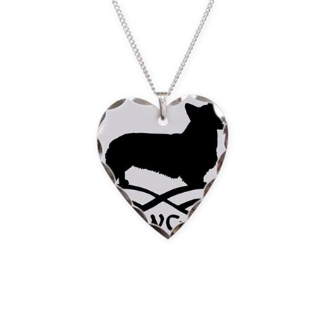 Welsh Corgi Infinity Necklace Heart Charm