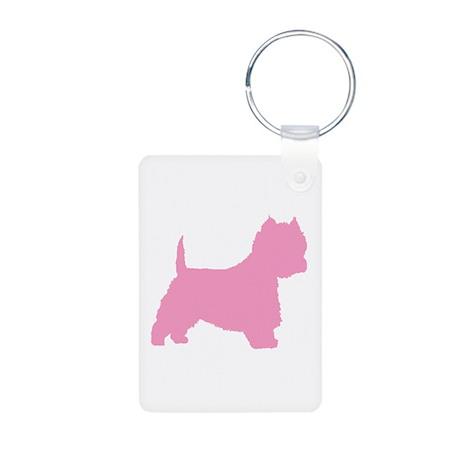 Pink Westie Dog Aluminum Photo Keychain