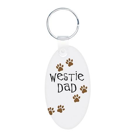 Westie Dad Aluminum Oval Keychain