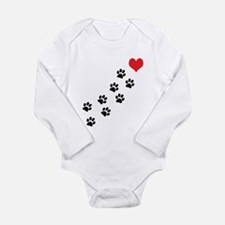 Paw Prints To My Heart Long Sleeve Infant Bodysuit