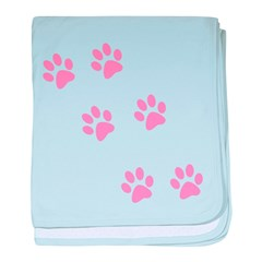 Pink Walk-On-Me Pawprints baby blanket