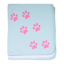 Pink Walk-On-Me Pawprints baby blanket