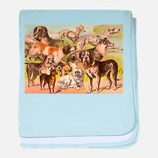 Dog Group From Antique Art baby blanket