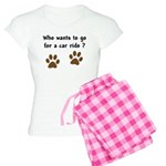 Paw Prints Dog Car Ride Women's Light Pajamas
