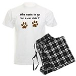 Paw Prints Dog Car Ride Men's Light Pajamas